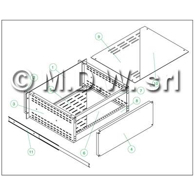 Contenitore rack a cassetto estraibile 6U-460