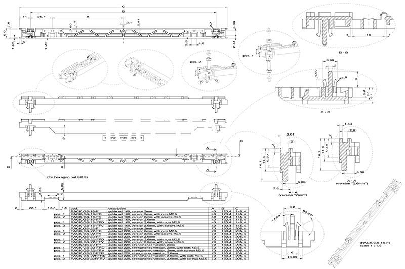 Guida scheda per PCB formato eurocard 160 mm con canale da 2 mm