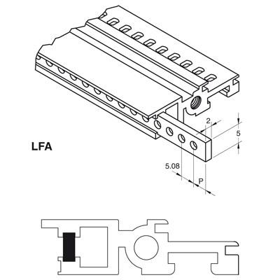 Listello in ferro zincato bianco 2 x 5 mm con fori filettati M 2,5 a passo 1 HP (5,08 mm) lunghezza 84 HP (TE)