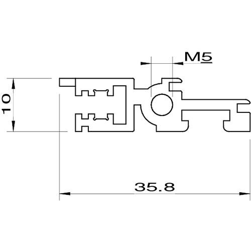 Profilo anteriore con singolo foro di fissaggio filettato M5