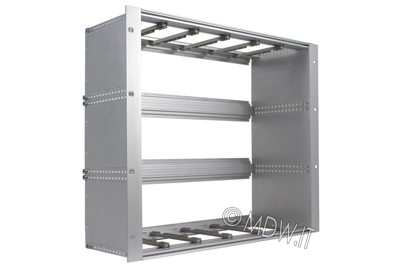 Subrack portamoduli 1 x 9U 84HP x 178 per schede P=160 con connettori ad interasse di fissaggio di 90 mm secondo standard DIN 41612, IEC 60603-2 ed EN 60603-2