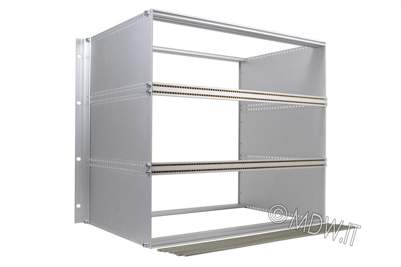 Subrack portamoduli a pareti composte 1 x 9U 84HP per schede P=280 con connettori ad inserzione diretta o su backplane