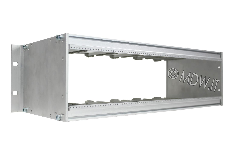 Subrack portamoduli 1 x 3U 84HP x 178 per schede P=160 con connettori ad interasse di fissaggio di 90 mm secondo standard DIN 41612, IEC 60603-2 ed EN 60603-2
