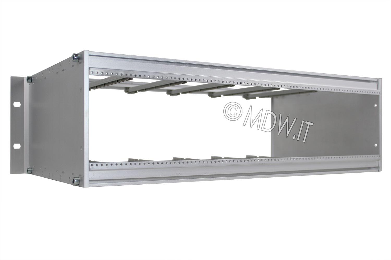 Subrack portamoduli 1 x 3U 84HP x 239 per schede P=220 con connettori ad interasse di fissaggio di 90 mm secondo standard DIN 41612, IEC 60603-2 ed EN 60603-2