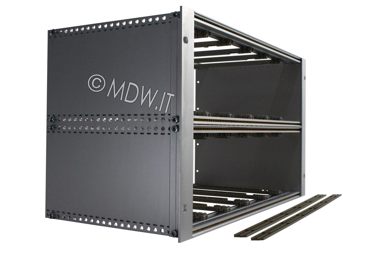 Subrack portamoduli a pareti composte 6U (2 x 3U) 84HP per schede P=220 con connettori ad inserzione diretta o su backplane