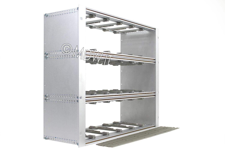 Subrack portamoduli 9U (3 x 3U) 84HP x 178 per schede P=160 con connettori ad inserzione diretta o su backplane