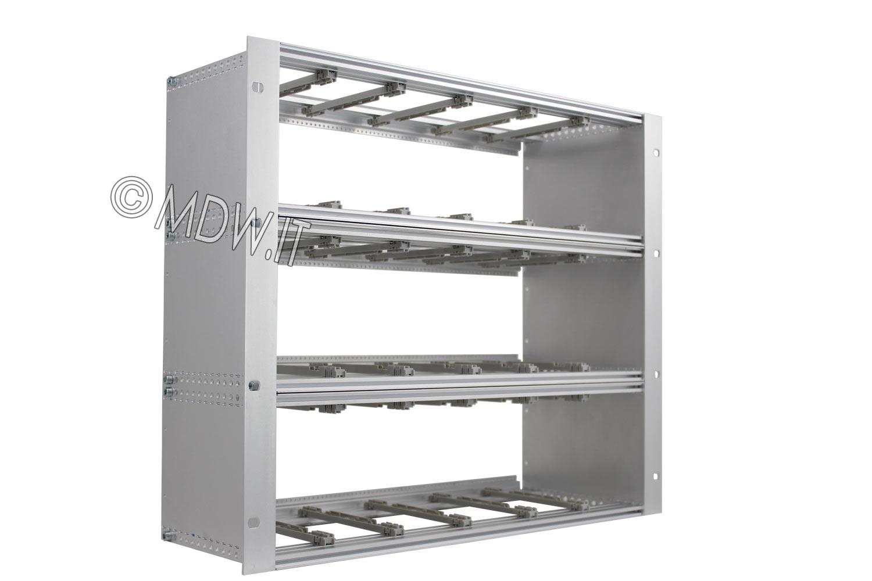 Subrack portamoduli 9U (3 x 3U) 84HP x 178 per schede P=160 con connettori ad interasse di fissaggio di 90 mm secondo standard DIN 41612, IEC 60603-2 ed EN 60603-2