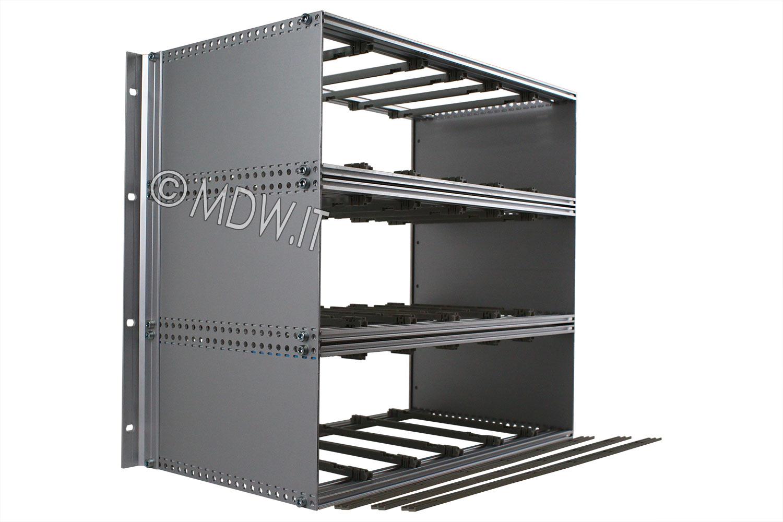 Subrack portamoduli a pareti composte 9U (3 x 3U) 84HP per schede P=220 con connettori ad inserzione diretta o su backplane