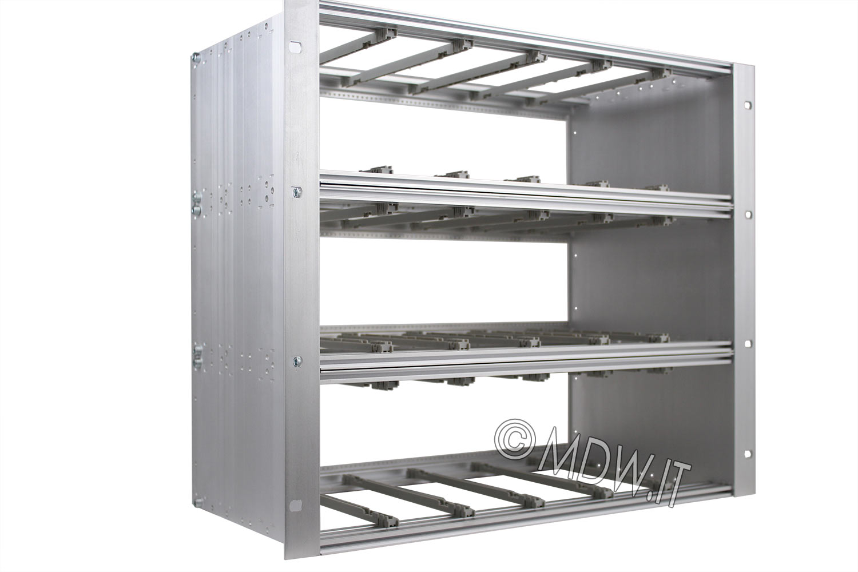 Subrack portamoduli a pareti composte 9U (3 x 3U) 84HP per schede P=160 con connettori ad inserzione diretta o su backplane
