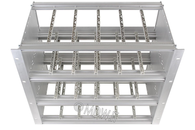 Subrack portamoduli a pareti composte 9U (3 x 3U) 84HP per schede P=160 con connettori ad interasse di fissaggio di 90 mm secondo standard DIN 41612, IEC 60603-2, EN 60603-2