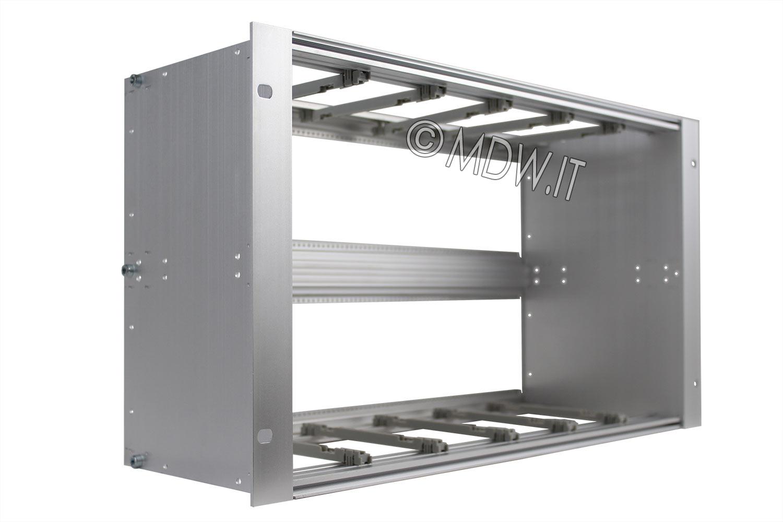 Subrack portamoduli 1 x 6U 84HP x 175 per schede P=160 con connettori ad interasse di fissaggio di 90 mm secondo standard DIN 41612, IEC 60603-2 ed EN 60603-2