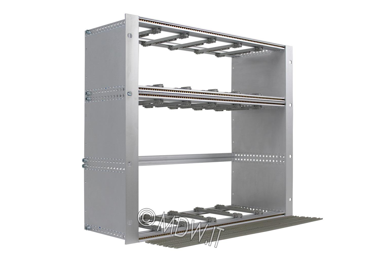 Subrack portamoduli 9U (1 x 3U + 1 x 6U) 84HP x 178 per schede P=160 con connettori ad inserzione diretta o su backplane