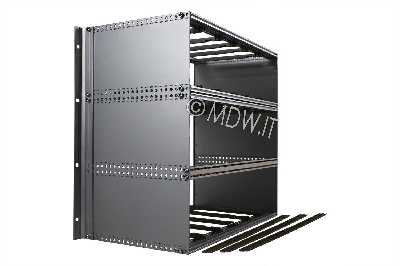 Subrack portamoduli a pareti composte 9U (1 x 3U + 1 x 6U) 84HP per schede P=220 con connettori ad inserzione diretta o su backplane