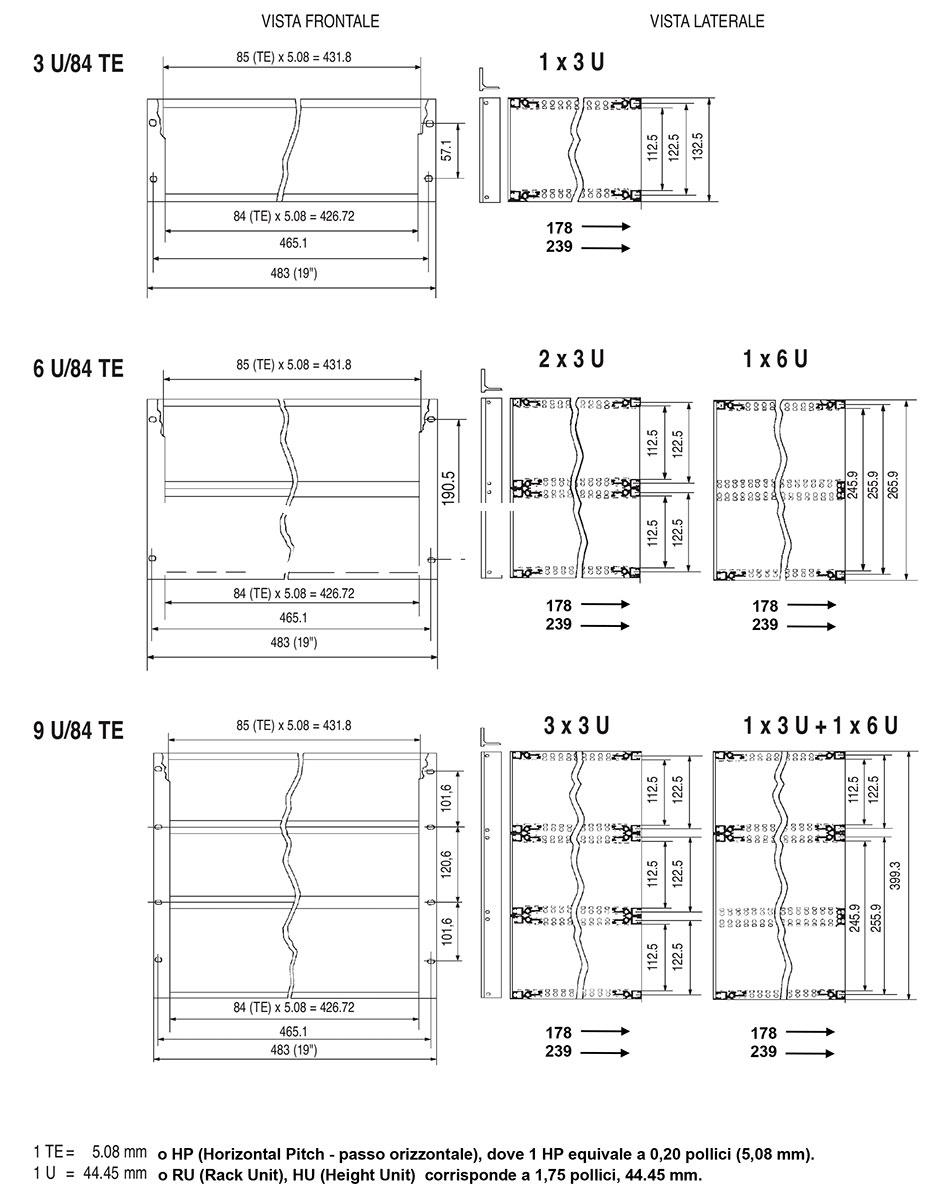 Subrack portamoduli 9U (1 x 3U + 1 x 6U) 84HP x 239 per schede P=220 con connettori ad inserzione diretta o su backplane