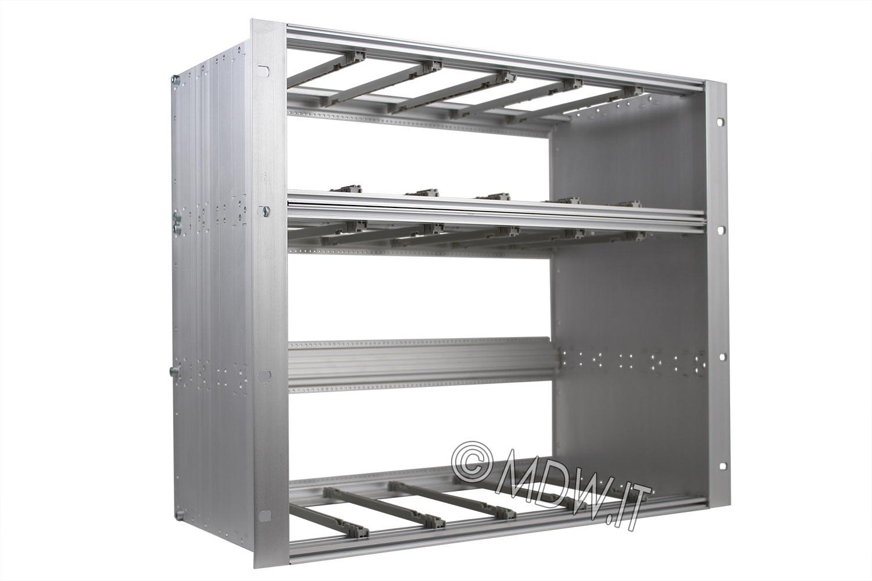 Subrack portamoduli 9U (1 x 3U + 1 x 6U) 84HP x 239 per schede P=220 con connettori ad interasse di fissaggio di 90 mm secondo standard DIN 41612, IEC 60603-2 ed EN 60603-2