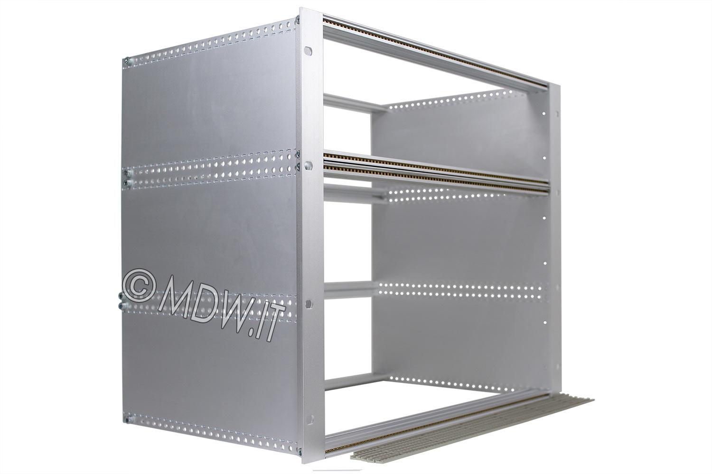Subrack portamoduli a pareti composte 9U (1 x 3U + 1 x 6U) 84HP per schede P=280 con connettori ad inserzione diretta o su backplane