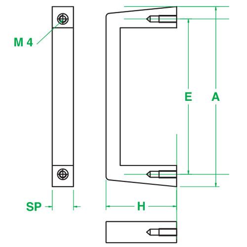 Maniglia (singola) monoblocco in alluminio anodizzato naturale 6U filetto M4
