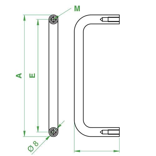 Maniglia monoblocco tonda diametro 8 mm, in alluminio anodizzato naturale 2U filetto M4