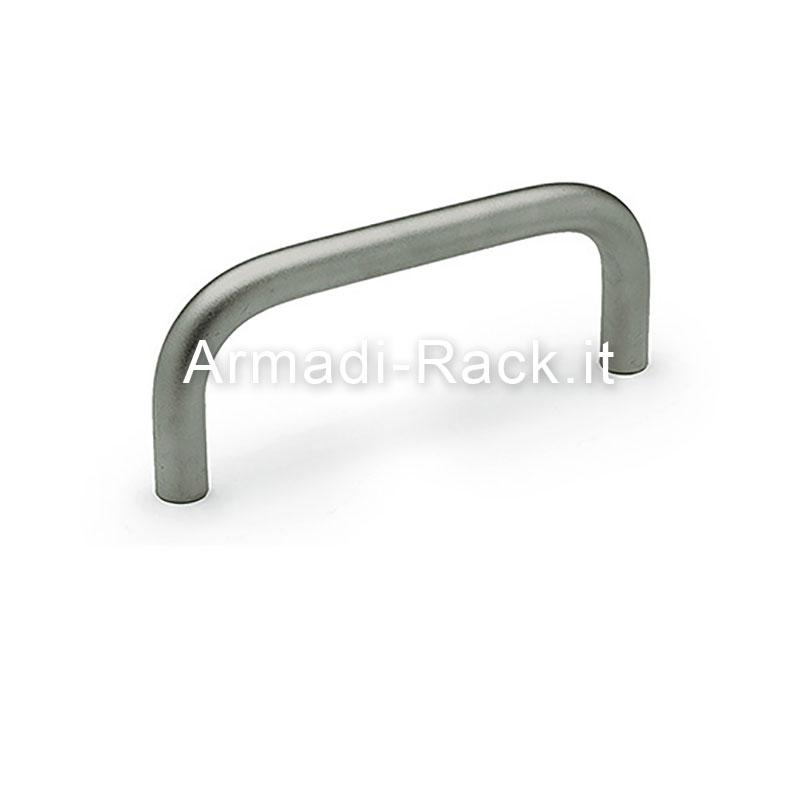 Maniglia (singola) monoblocco tonda diametro 8 mm, in alluminio anodizzato naturale 3U interasse fori 100 filetto M4