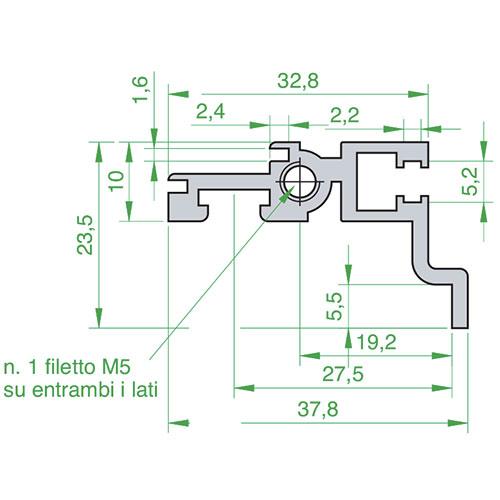 Profilo posteriore per schede con connettori ad interasse di fissaggio di 90 mm