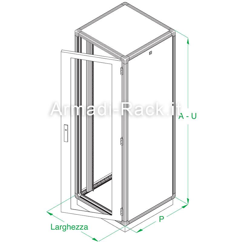 ARMADIO RACK 42U X 596 X 996 struttura in estruso di alluminio, porta anteriore con finestra in cristallo temprato, fianchi e retro rimovibili con serratura, tetto cieco e zoccolo con passaggio cavi, grado di protezione IP 55