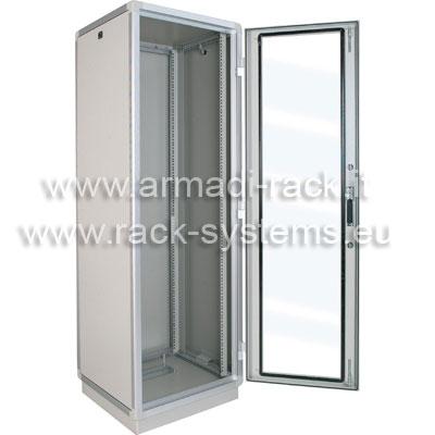 ARMADIO RACK 36U X 596 X 596 struttura in estruso di alluminio, porta anteriore con finestra in cristallo temprato, fianchi e retro rimovibili con serratura, tetto cieco e zoccolo con passaggio cavi, grado di protezione IP 55