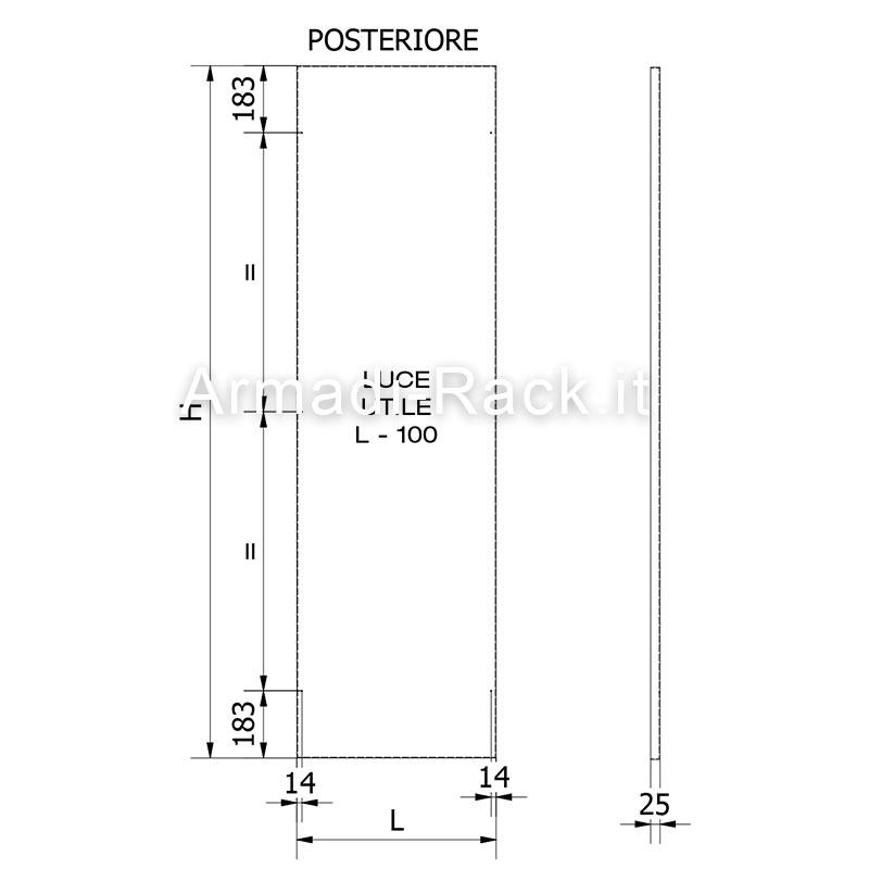 Pannello posteriore dimensioni 784 x 1890 / per codici 2961-2962-2963-2964-2993(2)-2994(2)