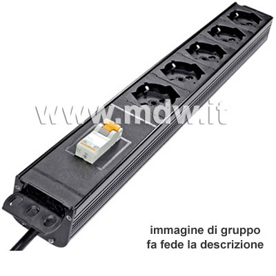 Multipresa 5 prese + interruttore magneto-termico - struttura PVC V0 ignifuga
