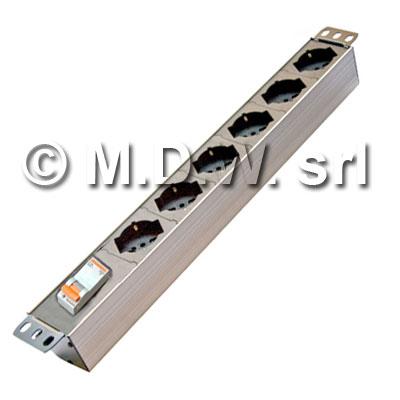Multipresa 6 prese con interruttore magneto-termico, struttura in alluminio