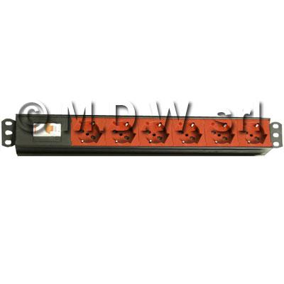 Multipresa 6 prese color ROSSO + inter. Magnetotermico 1P+N - struttura in alluminio