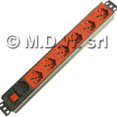 Multipresa 7 prese di colore ***ROSSO*** diretta senza interruttore - struttura in alluminio