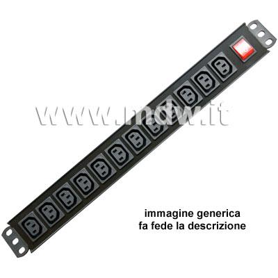 Multipresa 12 IEC C13 + inter.luminoso bipolare - struttura PVC V0