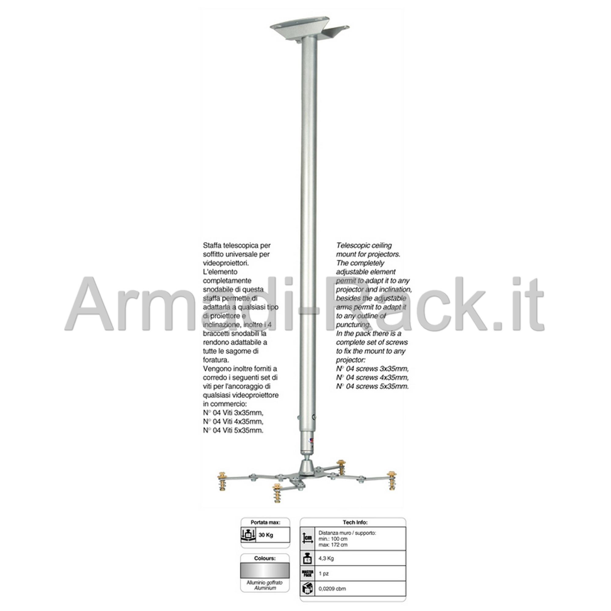 Supporto universale telescopico da soffitto per videoproiettori. Lunghezza 100/172 cm.