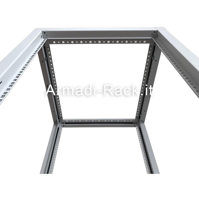 Telaio modulare in acciaio trattato aluzinc completamente smontabile, altezza 36 unità rack, larghezza 600 mm, profondità 1000 mm