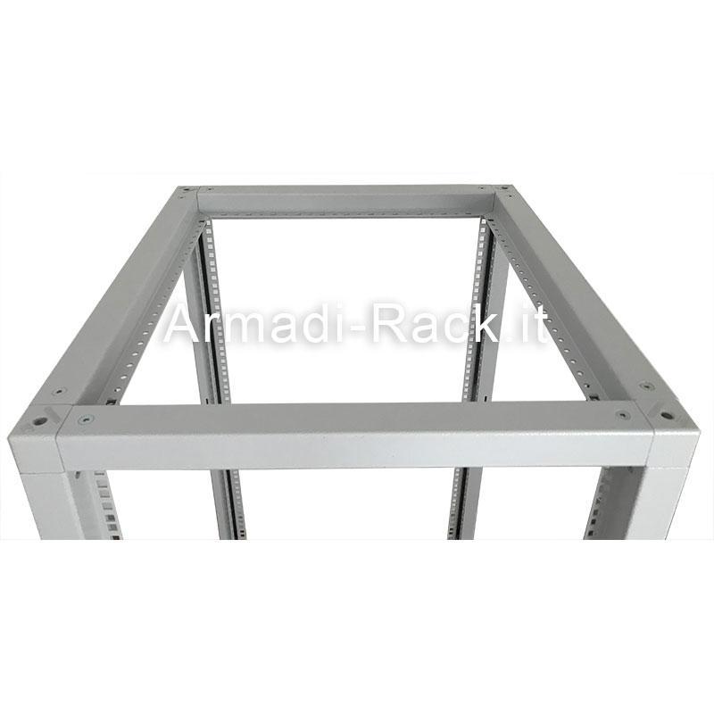 Telaio modulare in acciaio trattato aluzinc completamente smontabile, altezza 18 unità rack, larghezza 600 mm, profondità 1000 mm