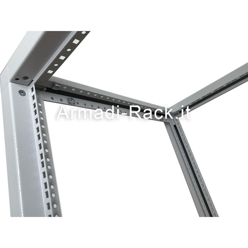 Telaio modulare in acciaio trattato aluzinc completamente smontabile, altezza 18 unità rack, larghezza 565 mm, profondità 1000 mm