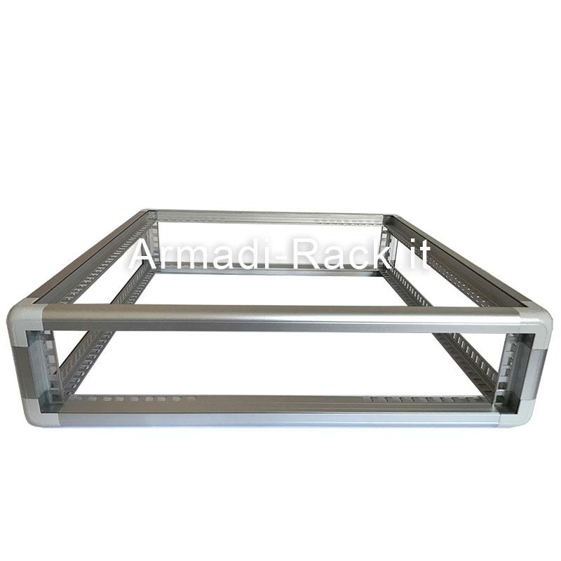 Telaio rack in alluminio 2U 129X525X259 mm
