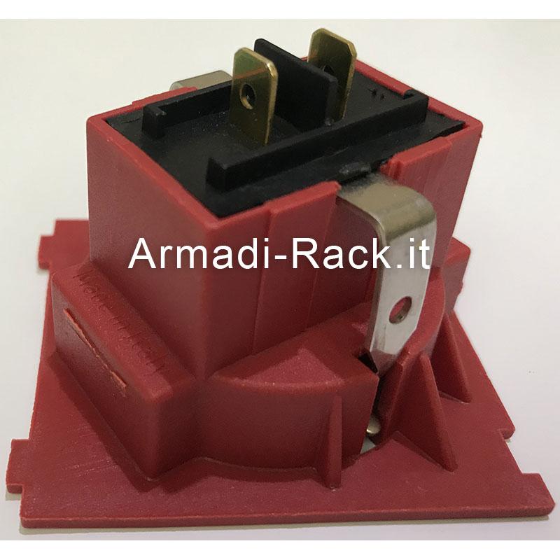 Presa universale italiana bipasso + schuko, 2P+T, 250Vac 16A colore rosso