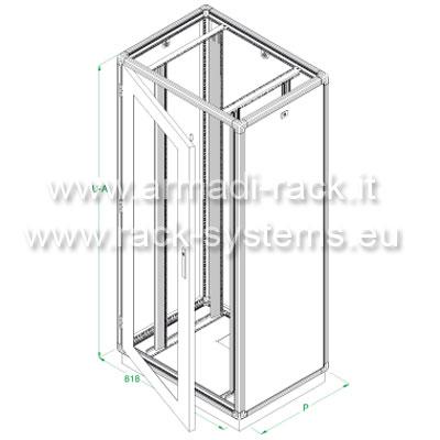 ARMADIO RACK 18U X 818 X 551 struttura in estruso di alluminio, porta anteriore con finestra in cristallo temprato, fianchi e retro rimovibili con serratura, tetto cieco e zoccolo con passaggio cavi, grado di protezione IP 55