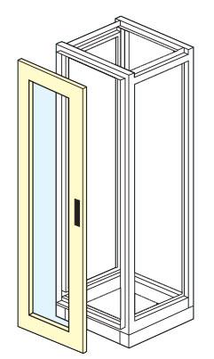 porta anteriore con finestra in cristallo temprato per armadio elettrico modulare altezza 1800,2000,2100