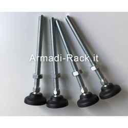 Kit 4 piedini regolabili in acciaio e gomma rigida con snodo Ø40 perno filetto...