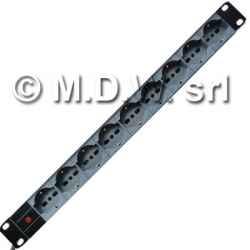 Multipresa 1 unità rack, 9 prese unel universali 10/16a, alimentazione diretta con led presenza rete, cavo 3x2.5 mmq, con alette per...