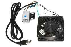 Ventola 220 volt AC 120x120x38 mm completa di termostato 0 - 60°C con staffa e cavo di alimentazione attestato con presa italiana 10A