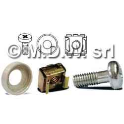Kit vite filetto M4 testa a croce colore acciaio + dado in gabbietta metallica per montaggio a rack (NO rondella)
