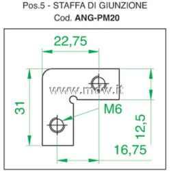 Staffetta angolare 90° di giunzione, piastrina ad 'L' con fori filettati M6 passo rack, in ferro zincato spessore 2 mm