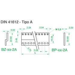 Barra piana tipo 'A' per connettori 41612 x profilo PPL, 24TE