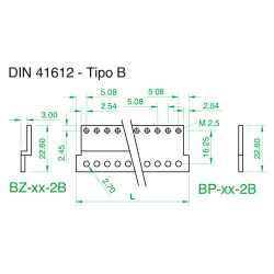 Barra piana tipo 'B' per connettori 41612 x profilo PPL, 84TE