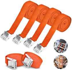 set 2 cinghie di fissaggio con Cricchetto lunghezza 3 metri regolabili, carico fino a 250 kg, colore arancio