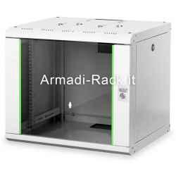 Armadio rack 9 unità da muro linea soho (a) 509 x (l) 600 x (p) 600 mm. colore grigio chiaro RAL 7035