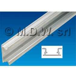 Profilo guida DIN 35 mm in alluminio tagliato a lunghezza 428 mm per uso in contenitori 19''